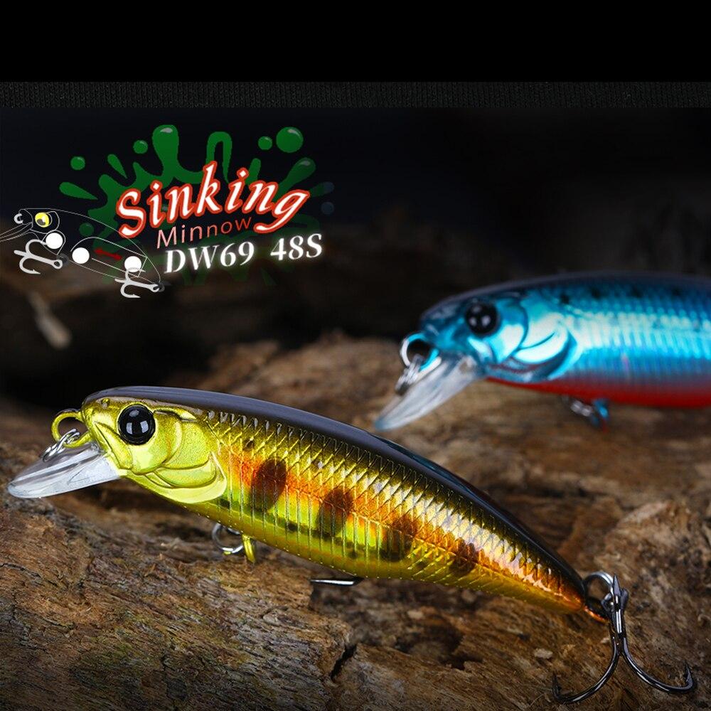 Tsurinoya dw69 3.3g lento afundando minnow isca 48mm wobbler crankbait iscas duras equipamento de pesca para truta poleiro crappie peixe
