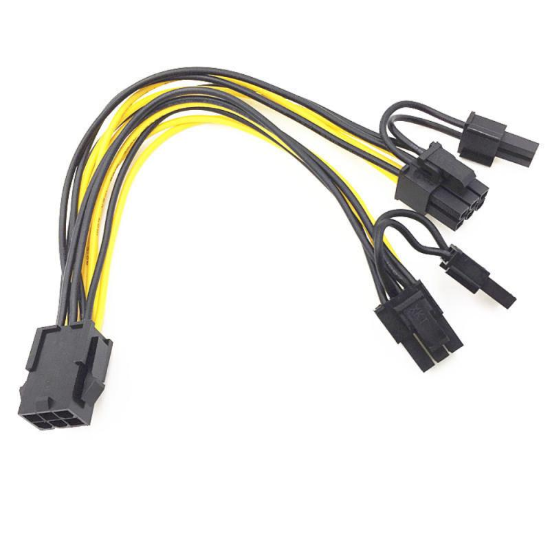 1Piece 8 Pin PCI Express To Dual PCIE 8 (6+2) Pin Power Cable 20cm Motherboard Graphics Card PCI-E GPU Power Data Cable Splitter