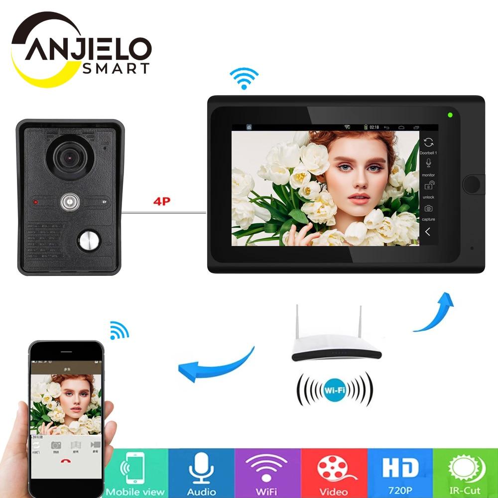 Wifi Smart 720P 7 inch Wired  Video Door Phone Doorbell Intercom Entry System,Support Remote APP unlocking Recording Snapshot
