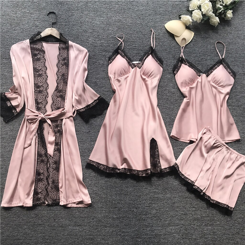 WENYUJH Women Pajamas Set Satin Sleepwear Silk 4 Pieces Nightwear Pyjama Spaghetti Strap Lace Sleep
