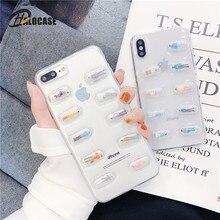 3D pilules mignonnes Capsules dessin animé étui pour iphone 11 Pro MAX XR XS MAX 8 7 6s 6plus couverture transparente pour Xiaomi Note3 mi6 6X8 9