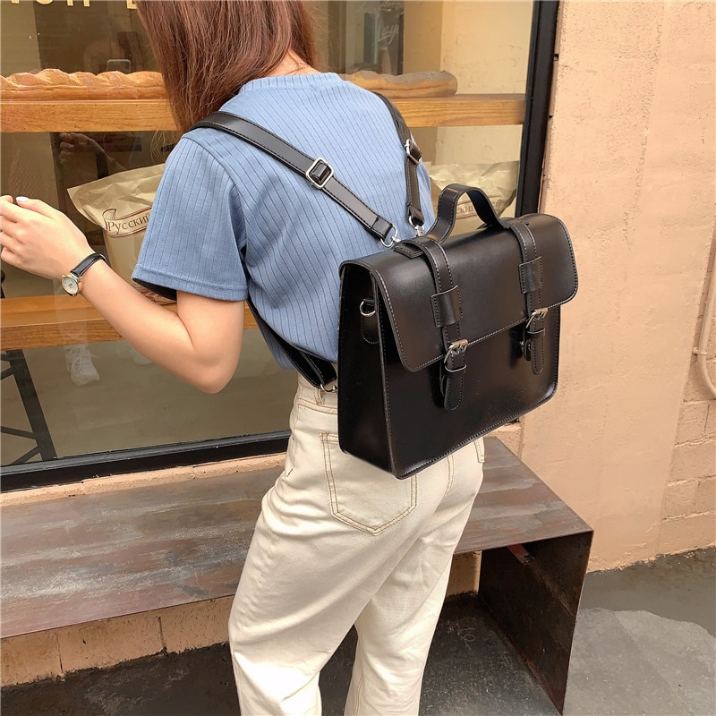 Korean preppy style student school bag pu leather female messenger bags vintage multifunctional Women shoulder bag ladies Totes