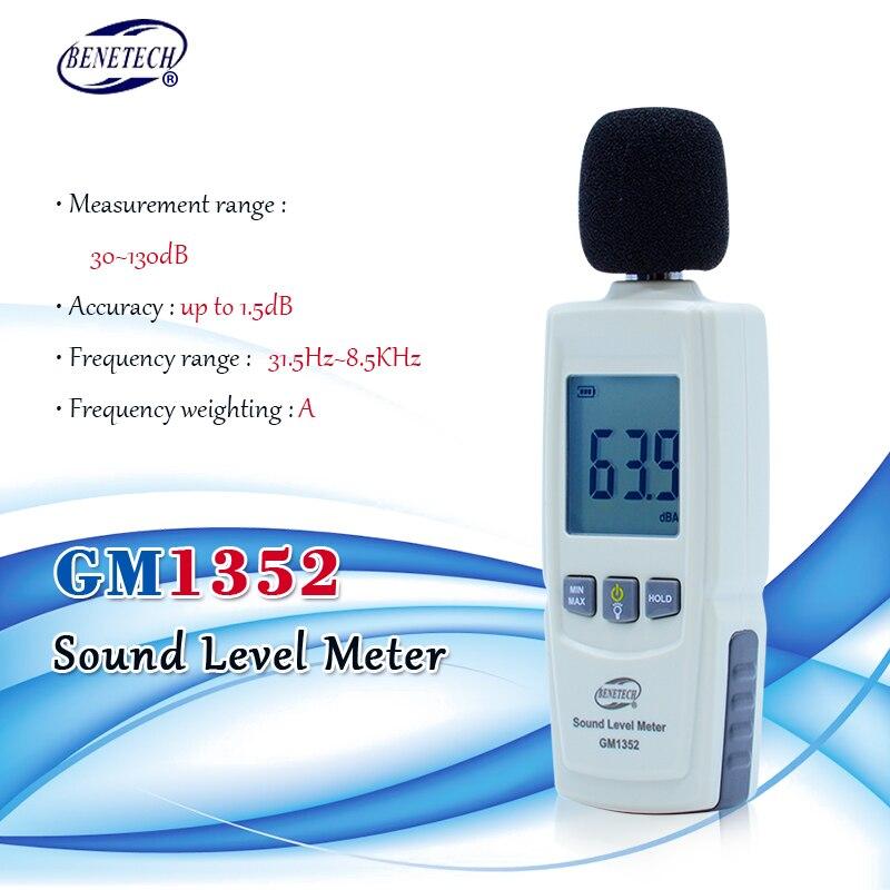 Probador de ruido BENETECH Medidor de nivel de sonido digital 30-130dB en decibelios pantalla LCD noisemeter GM1352
