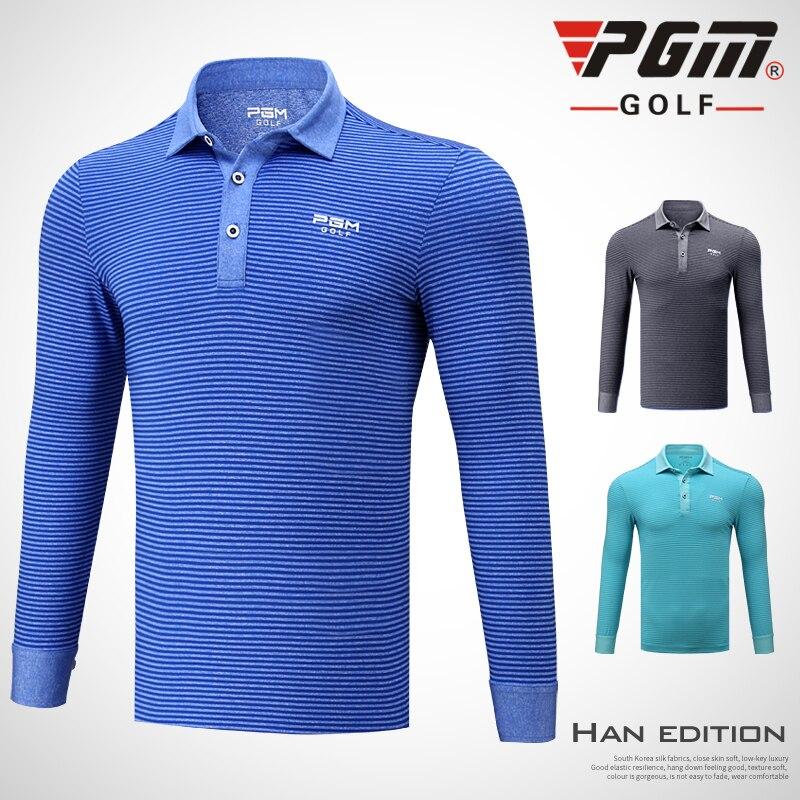 PGM ropa camisa traje de pelota de Golf hombres entrenamiento de manga larga Camiseta deportiva desgaste otoño/primavera hombres con rayas clásico suave Jersey