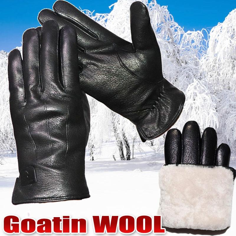 Men's leather genuine wool gloves goatskin deerskin pattern gloves sheepskin wool thickening warm gl