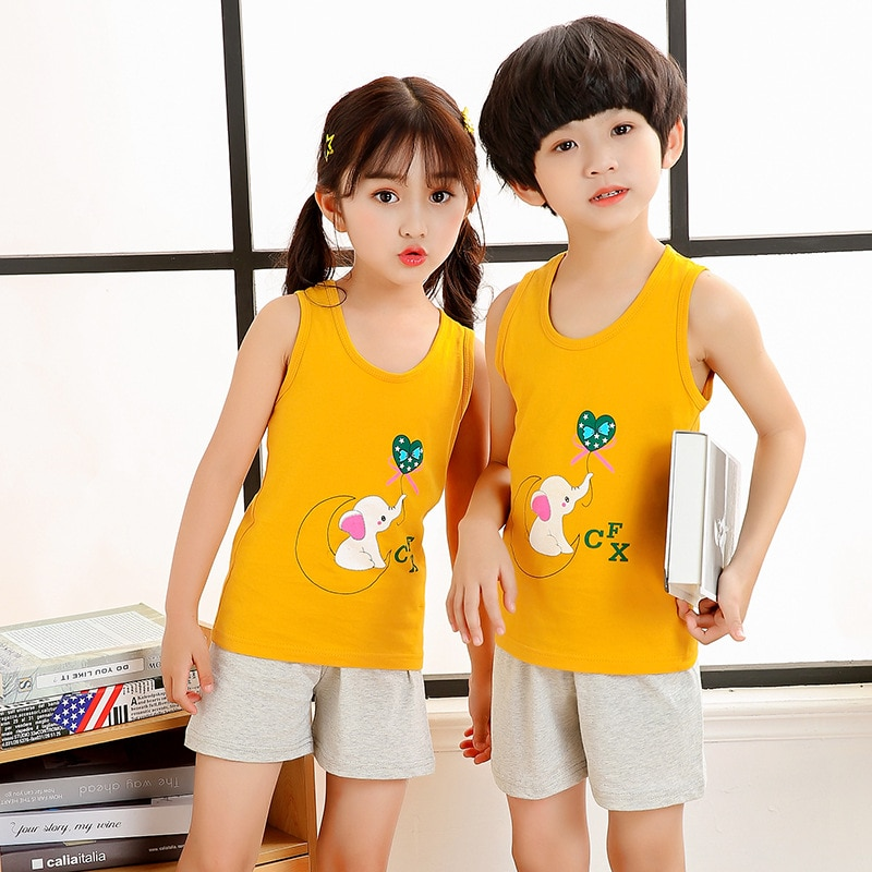 Summer Children's Pajamas Baby Boy Clothes Cotton Pyjamas Kids T-shirt+Shorts 2pcs Cartoon Pajamas For Girls Boys Sleepwear Sets