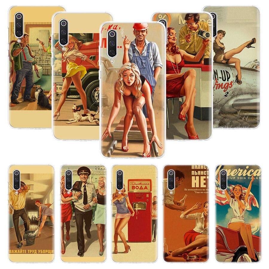 WW2 Sexy Pin up Girl Vintege Case for Xiaomi Redmi Note 9s 8T 8 7 5 8A 8 7A 7 6A 10 K30 S2 Pro MI 10 8 9 Lite CC9 F1 Phone Coque
