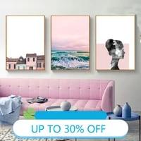 Toile Peinture Affiches sur Le Mur Vue Mer Fille Chambre Mur Art Image pour Salon Decoration Maison Deco