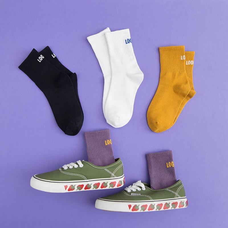 European American Unisex Student Street Hip-Hop Skateboard Sports Tube Socks Personality Letters Fashion Trend Couple
