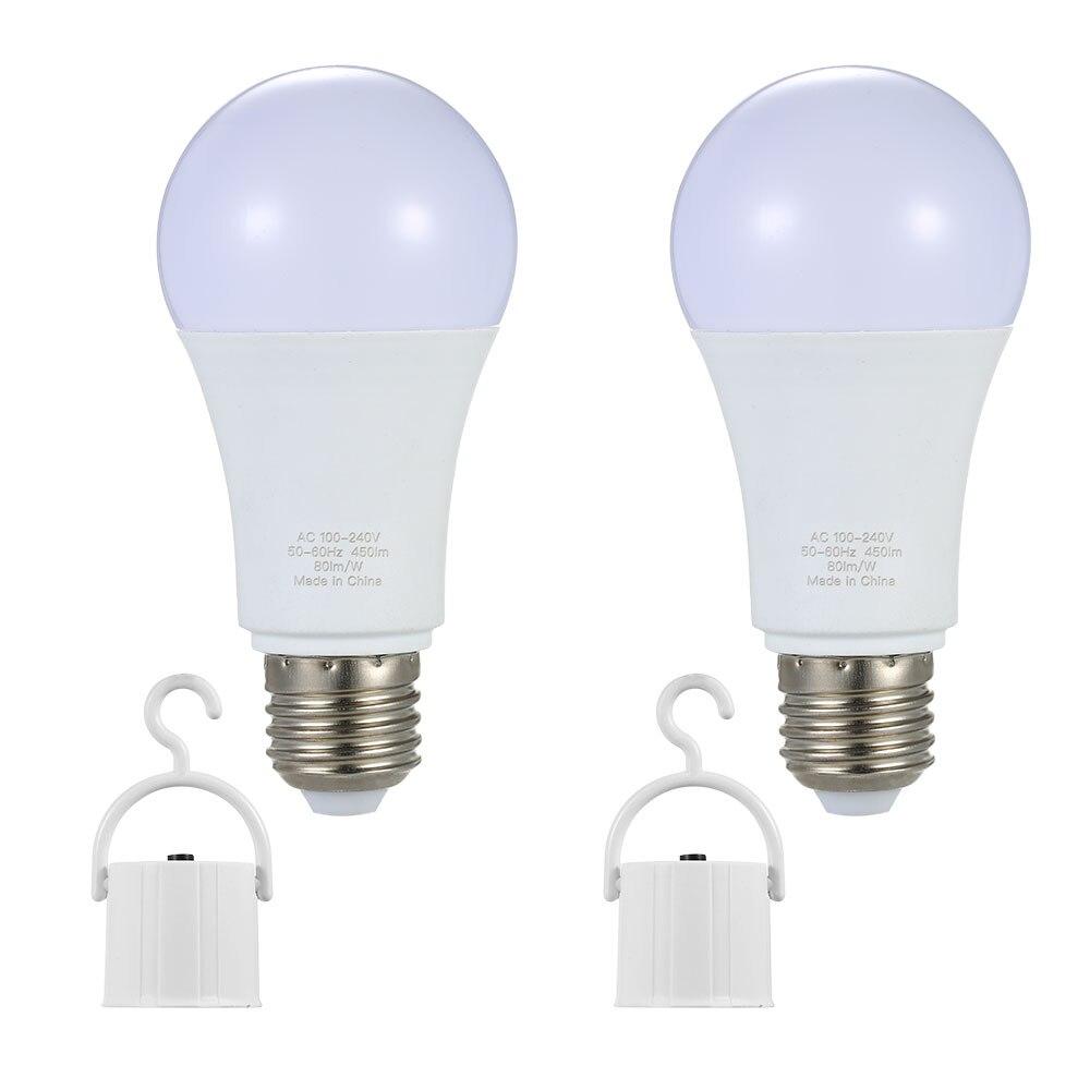 2 uds. Bombilla LED recargable E26/E27 6W luz de emergencia Blub 60W equivalente 6000K luz nocturna brillante para acampar al aire libre