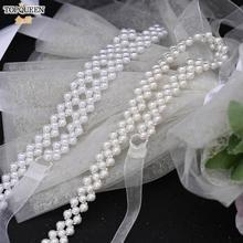 TOPQUEEN-Cinturón de lujo para vestido de novia, cinturón de perlas para vestido de dama de honor, cinturón Formal para mujer, S34, venta al por mayor