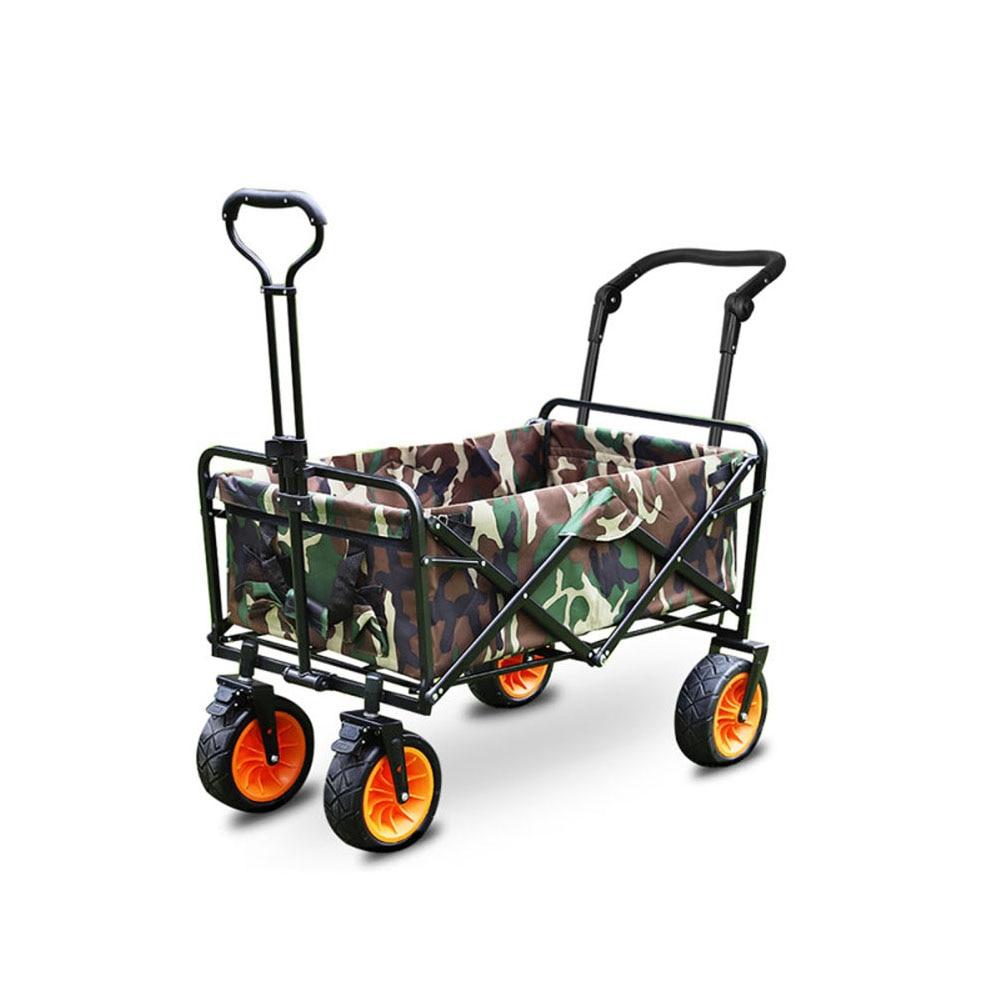 Folding Collapsible Wagon Outdoor Camping Garden Cart with Cargo Net $ Table Top Retractable Handle  Beach Wagon Shopping