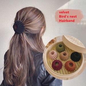 2021 Women's velvet Bird's Nest hair bands hair ring Lazy hairpins Ball  bun hair clip Dish hair extension twist hair claw