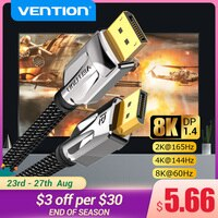Vention Display Port 1,4 кабель 8K 60Hz 4K HDR Дисплей порт адаптер аудио кабель для видео ПК ноутбука TV Display Port 1,4 DP 1,4 1,2  кабель 1,2