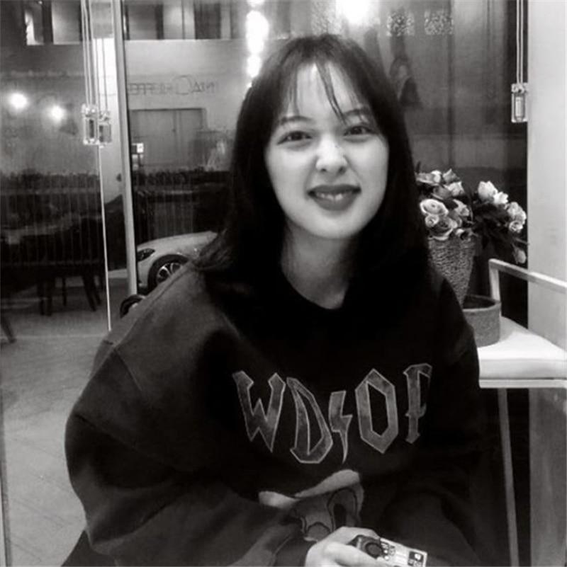 Bora Same Style ~ Korean Ins Retro Childlike Cute Cartoon Duck Print Crew Neck Pullover Sweatshirt A