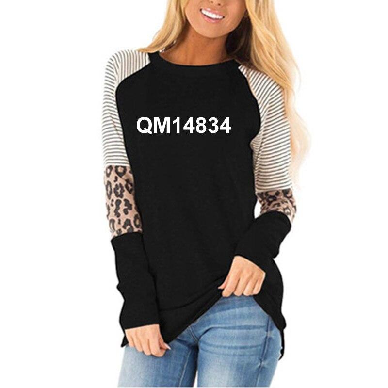 Новая модная женская футболка с принтом листьев и надписью Joy, женская футболка с леопардовым принтом и длинным рукавом размера плюс
