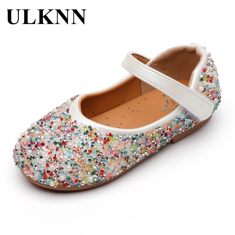 ULKNN Children's Leather Shoes Girls Catwalk Sequin Crystal Princess Kid's Peas Shoes Pink Show Flower Girl Single Shoes