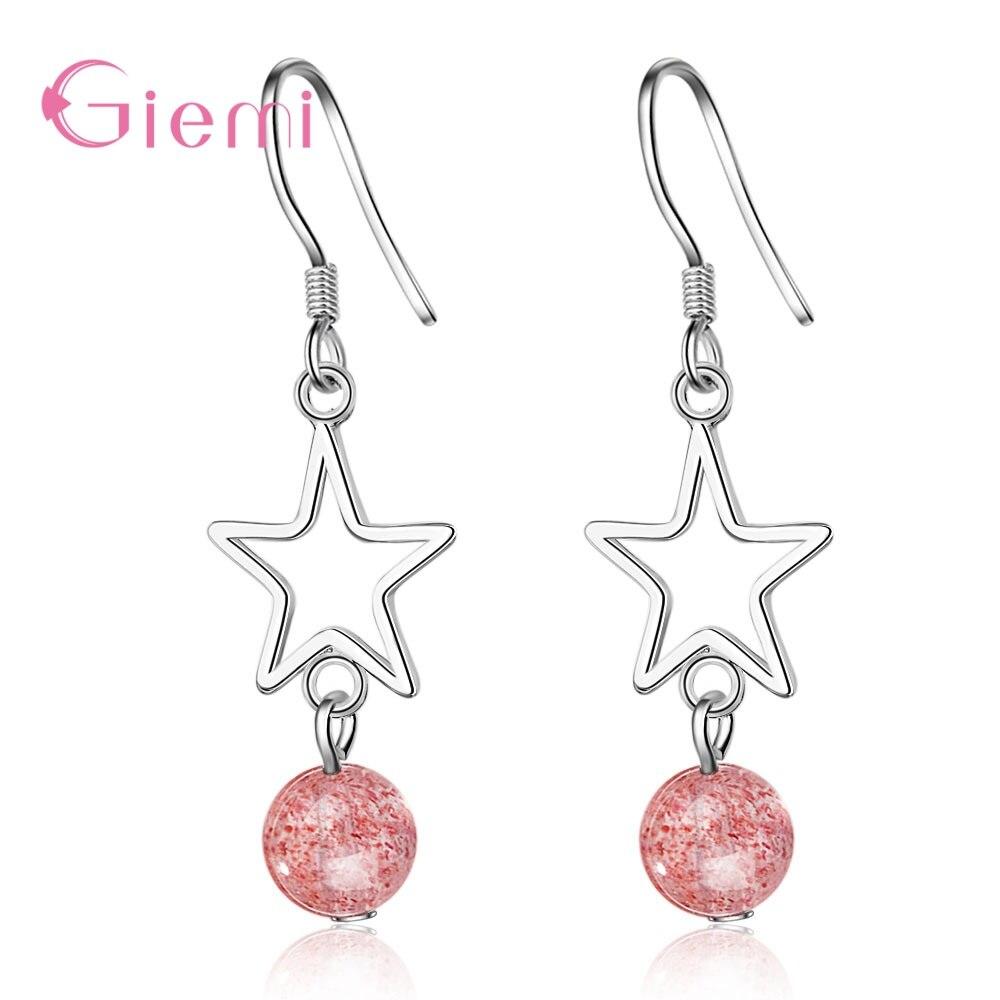 Décoration doreille S925 en argent Sterling élégant rose fraise cristal creux étoiles longue goutte boucle doreille pour les femmes bijoux de mode