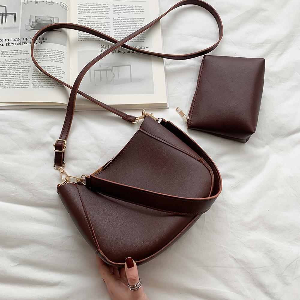 Fashion Solid Color Women Shoulder Handbag PU Leather Female Casual Messenger w/Clutch Bag