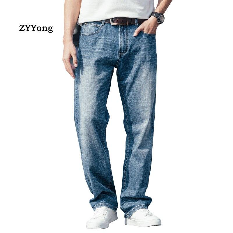Летние тонкие мужские джинсы свободные хип-хоп скейтборд эластичные прямые синие брюки мешковатые уличные свободные джинсовые штаны
