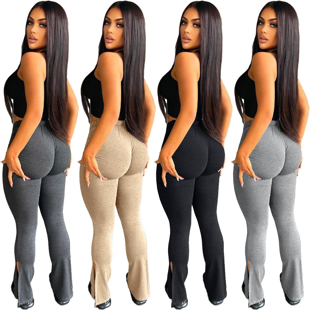 Повседневные женские спортивные штаны джоггеры имеет Стрейчевые штаны с высокой талией для Цвет уличной одежды, комплект летней одежды для...