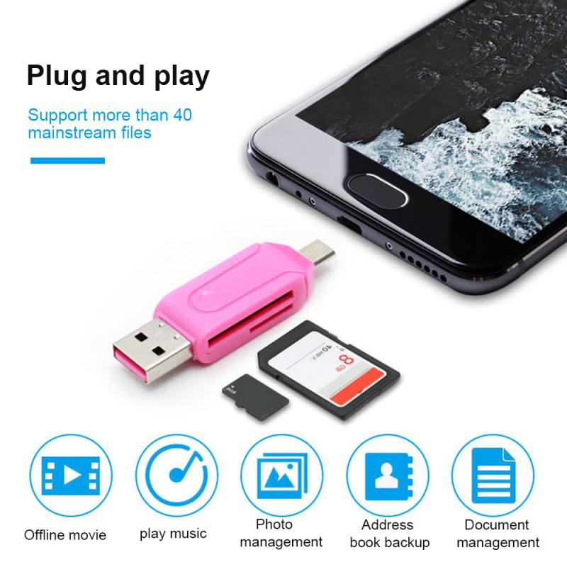 2 In 1 Type-c USB OTG Adapter Universal Micro TF SD Reader For Android Phone Tablet PC High Quality