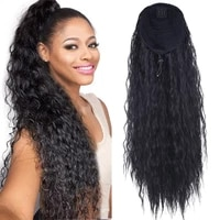 24inch long drawstring%c2%a0ponytail wig for women synthetic corn wave clip in hairpiece wrap around pony tail hair extension