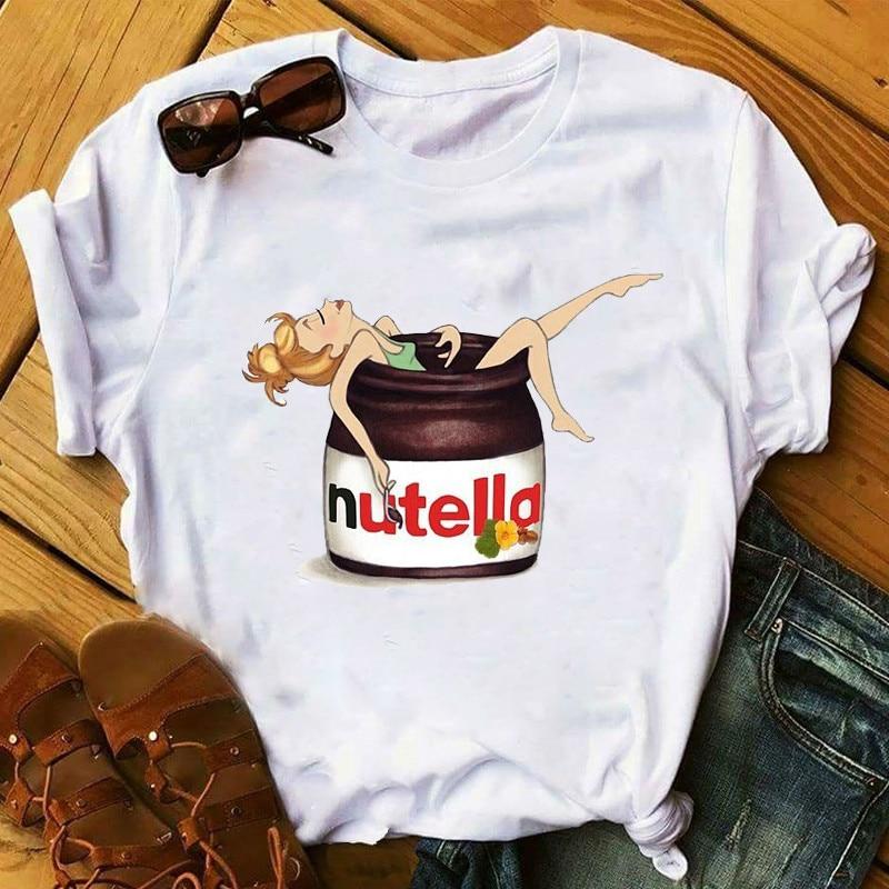 Women's T-shirt Nutella Cartoon Printing T-shirt Summer Women Shirts Ladies Tops Women T-shirt Harajuku White Female T-shirt