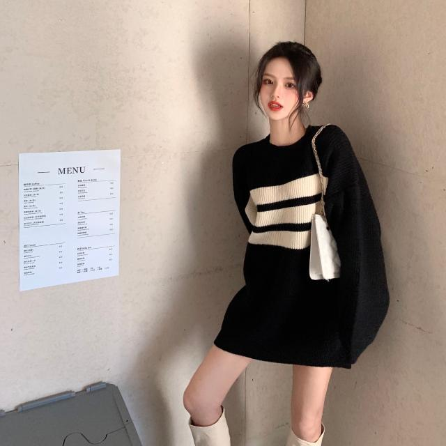 Medium length sweater loose women's lazy style new winter 2020 sweater Pullover long sleeve top fashion enlarge