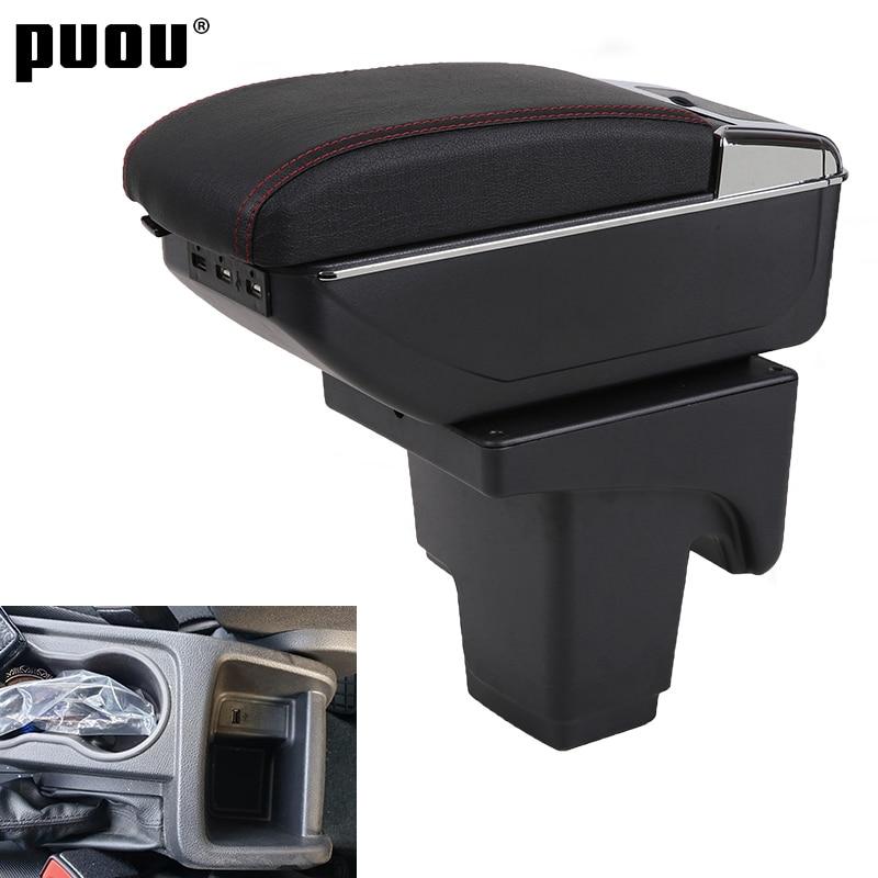 Compartimento de almacenamiento con compartimento de almacenamiento Central giratorio de doble capa para Ford focus 3 con soporte de taza interfaz USB accesorio de decoración de coche