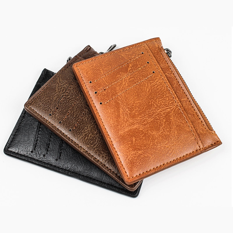 Ultra Thin Zipper Wallet Men's Small Wallet Business PU Leather Wallets Band Solid Color Card Coin Purse Credit Bank Holder