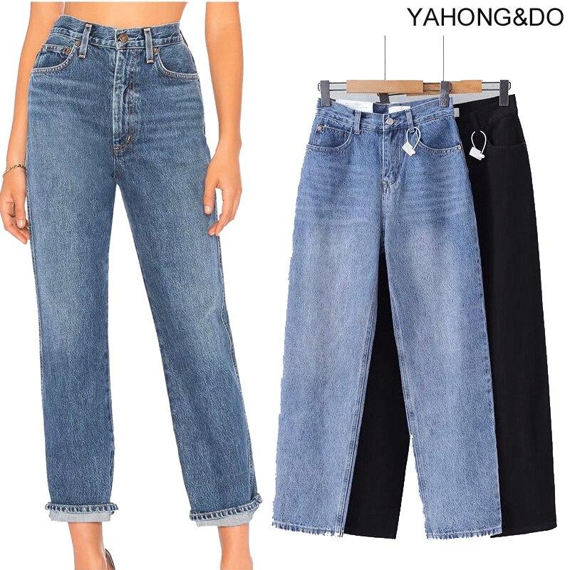 ZA 2019 new loose straight jeans pants vintage high waist blue jeans new autumn femme ankle length Denim Black jeans