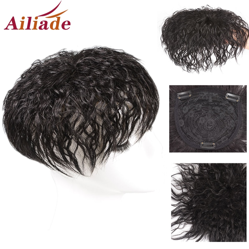 AliExpress - AILIADE Natural Color Real Human Hair Topper Wig For Women Breathable Hair net Base With Bangs Clip In Hair Toupee Hairpiece
