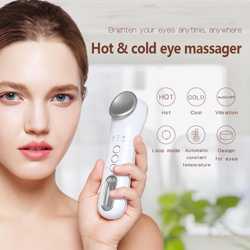 TinWong-عصا تدليك العين الساخنة والباردة ، عصا تدليك كهربائية تهتز للهالات السوداء وانتفاخات العين وتخفيف التعب.