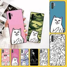 PENGHUWAN Ripndip dedo medio de gato recién llegado teléfono celular negro Funda para samsung nota 3 4 5 6 7 8 9 10 pro M10 20 30