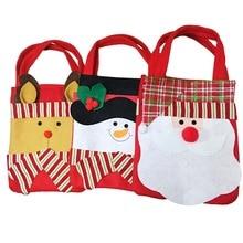 Christmas Gift Bags Santa Claus Snowman Elk Candy Gift Bag Striped Hand Bag XMAS Decor Holiday New Y