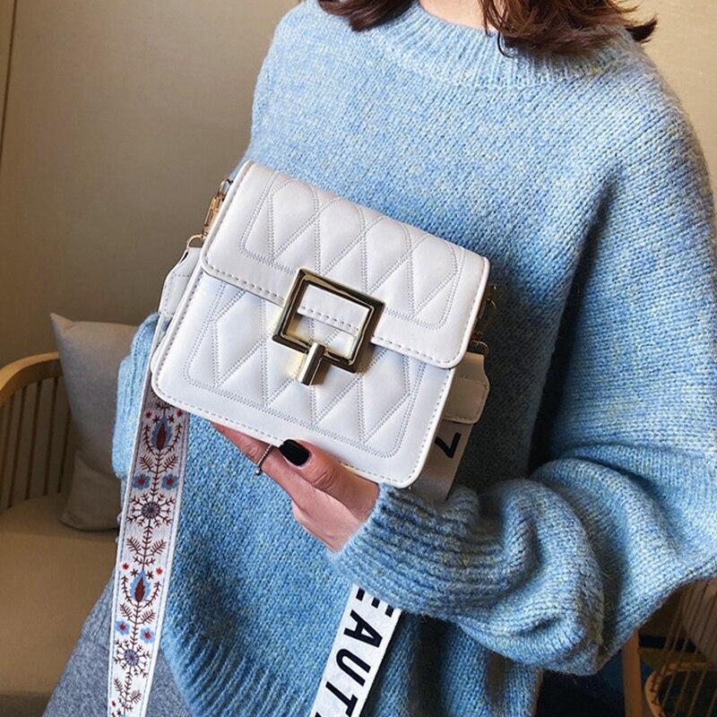 Vintage mujeres Diamond Lattice bolsos de hombro con solapa señoras negro blanco claro monedero bolso de mano Correa ancha Cross Body Pack 2020