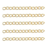 fairywoo 50pcsbag 5cm extend chain bracelet stainless steel chain real gold plated diy accessories jewelry making kit wholesale