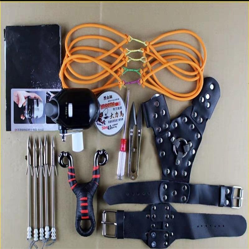 Juego de catapulta para pesca, juego de catapulta para tiro al aire libre, carrete de pesca, Dardo + guardamanos + tubo de goma, rueda de pesca
