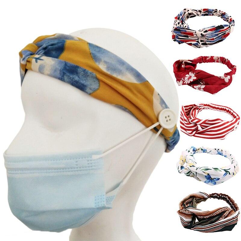 Diadema de botones soporte para la cara proteger las orejas deporte secado rápido sudor Unisex Yoga correr absorción-Máscaras diadema