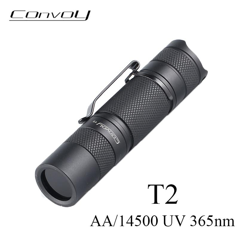 UV Flashlight Convoy T2 with UV 365nm Led Linterna AA/14500 Battery Flash Torch Ultraviolet Fluorescent Agent Detection Light