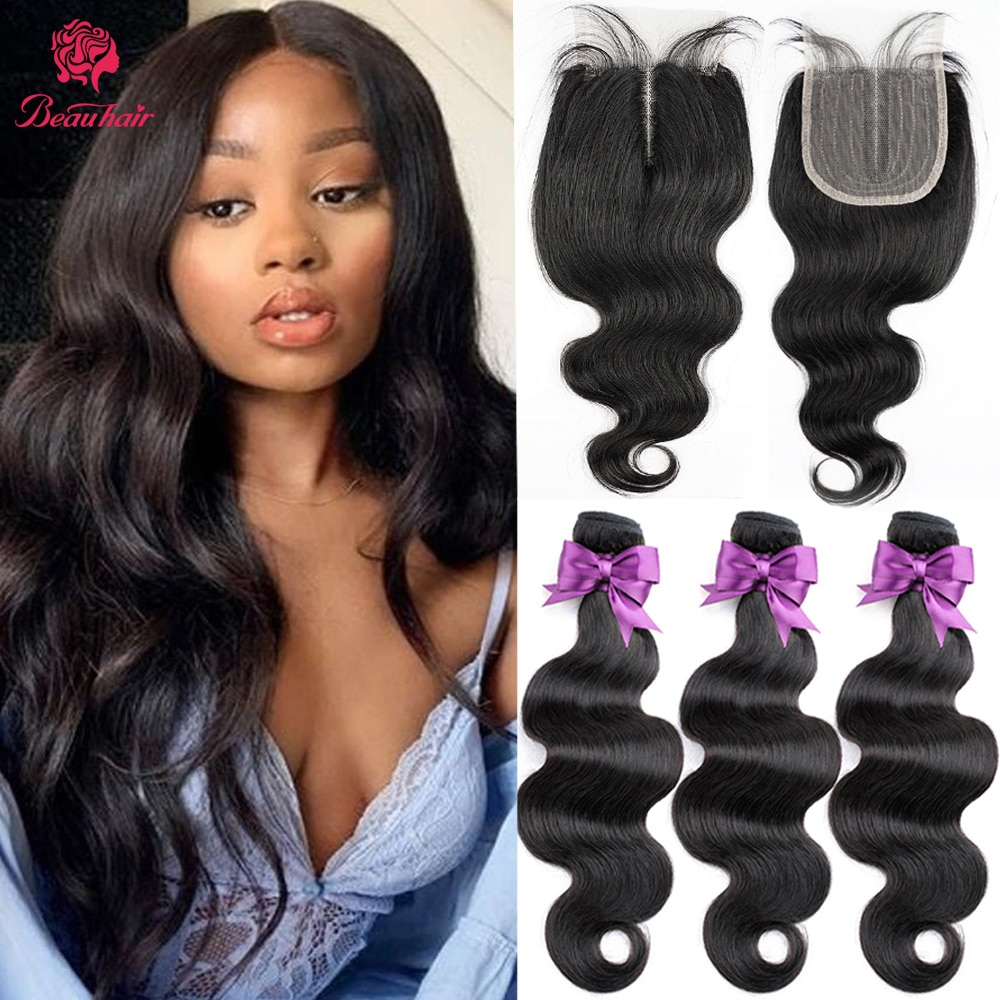 Human Hair Weaves Body Wave Bundles With Closure 8-14 Ship All 14 inch  Closur Middle Part With Baby Hair Brazilian Human Hair