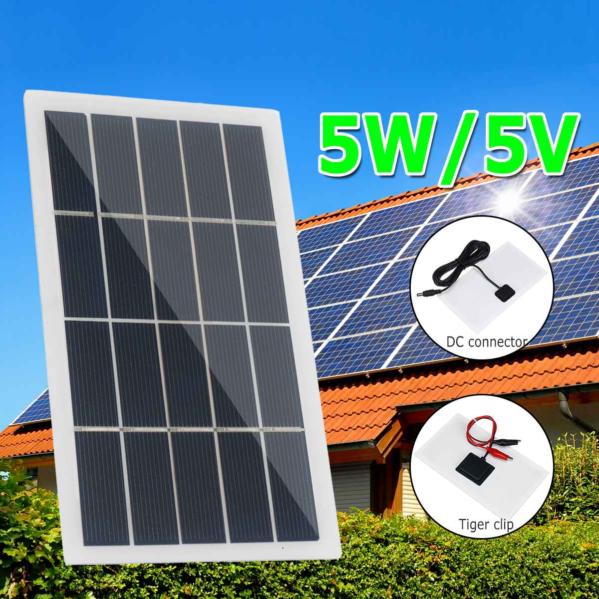 5W 10W 5V Portable DC Solar Panel Polysilicon Fast Charger Outdoor Climbing Travel Emergency Power DIY Solar Charger