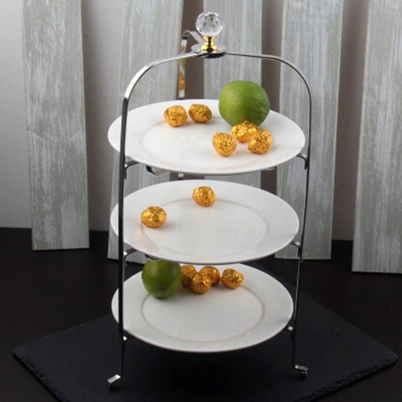 Cremalheira de Chá da Tarde Placa de Frutas Pçs de Aço Inoxidável Três-camada Dobrável Bolo Lanche Prateleira Criativa Sobremesa Exibição 1