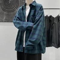 spring japanese new plaid shirt for men long sleeve hip hop trend casual retro wild loose harajuku couple korean clothes
