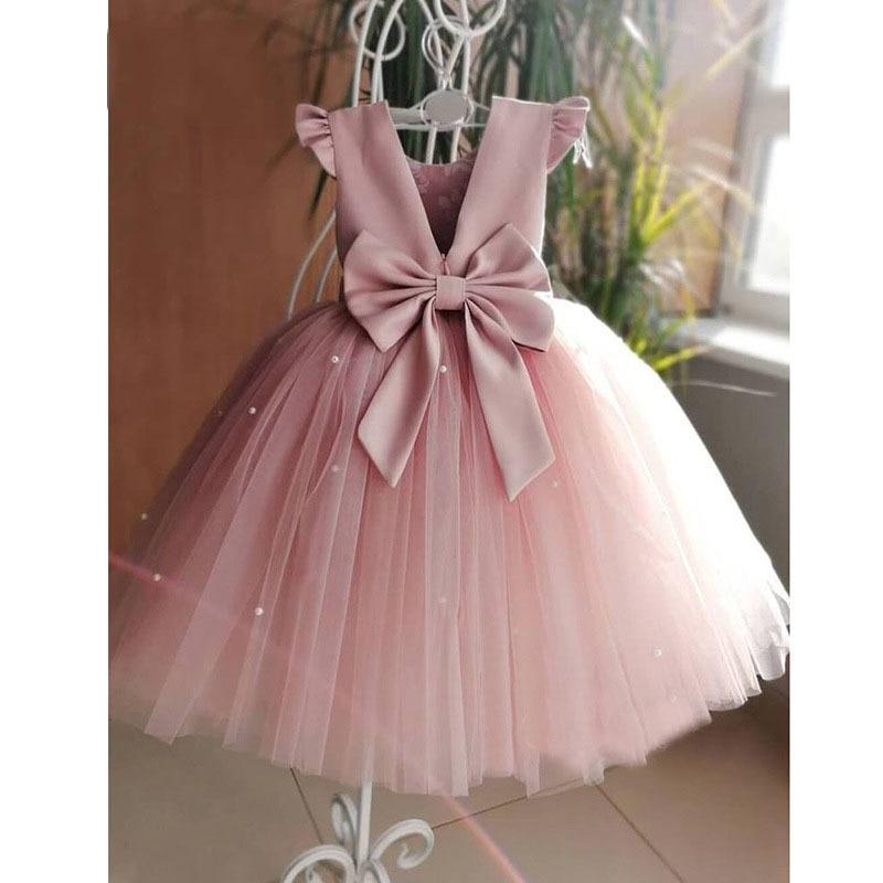 فستان زفاف وردي خوخي للبنات ، فستان هالتر ، مطرز ، حفلة عيد ميلاد ، تول ، كرة ، مجموعة جديدة 2021
