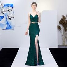 V-Neck  Formal Dress Women Elegant Vestido Largo Fiesta Noche Elegante  Dresses  Long  Mermaid Dress Gown Sequin Evening Wear