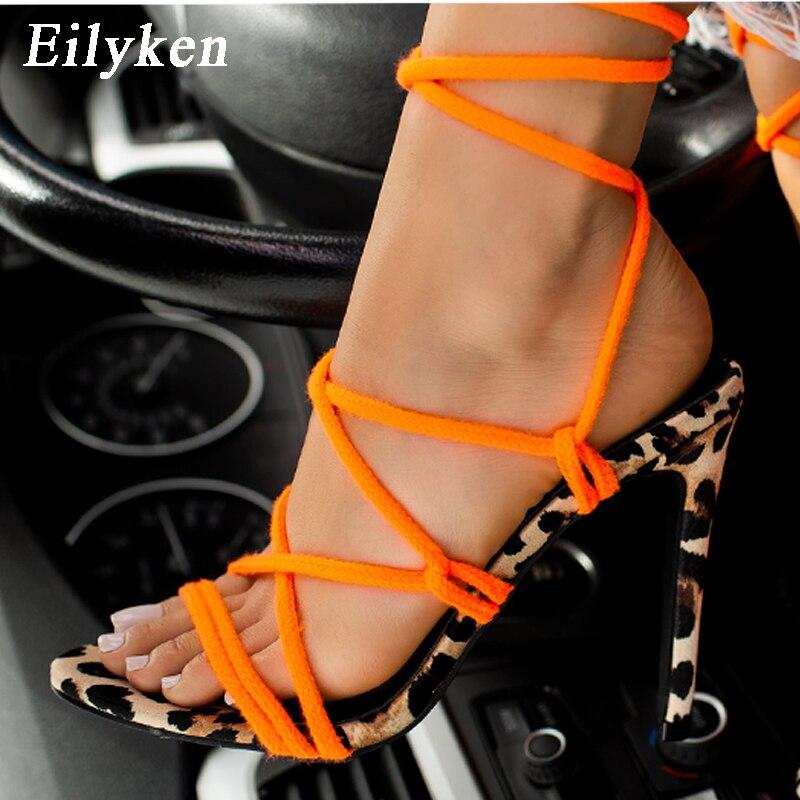 EilyKen, sandalias sexis de tacón de verano para mujer, Sandalias de tacón alto con Puntera abierta, hebilla atada cruzada, zapatos de fiesta naranjas para boda