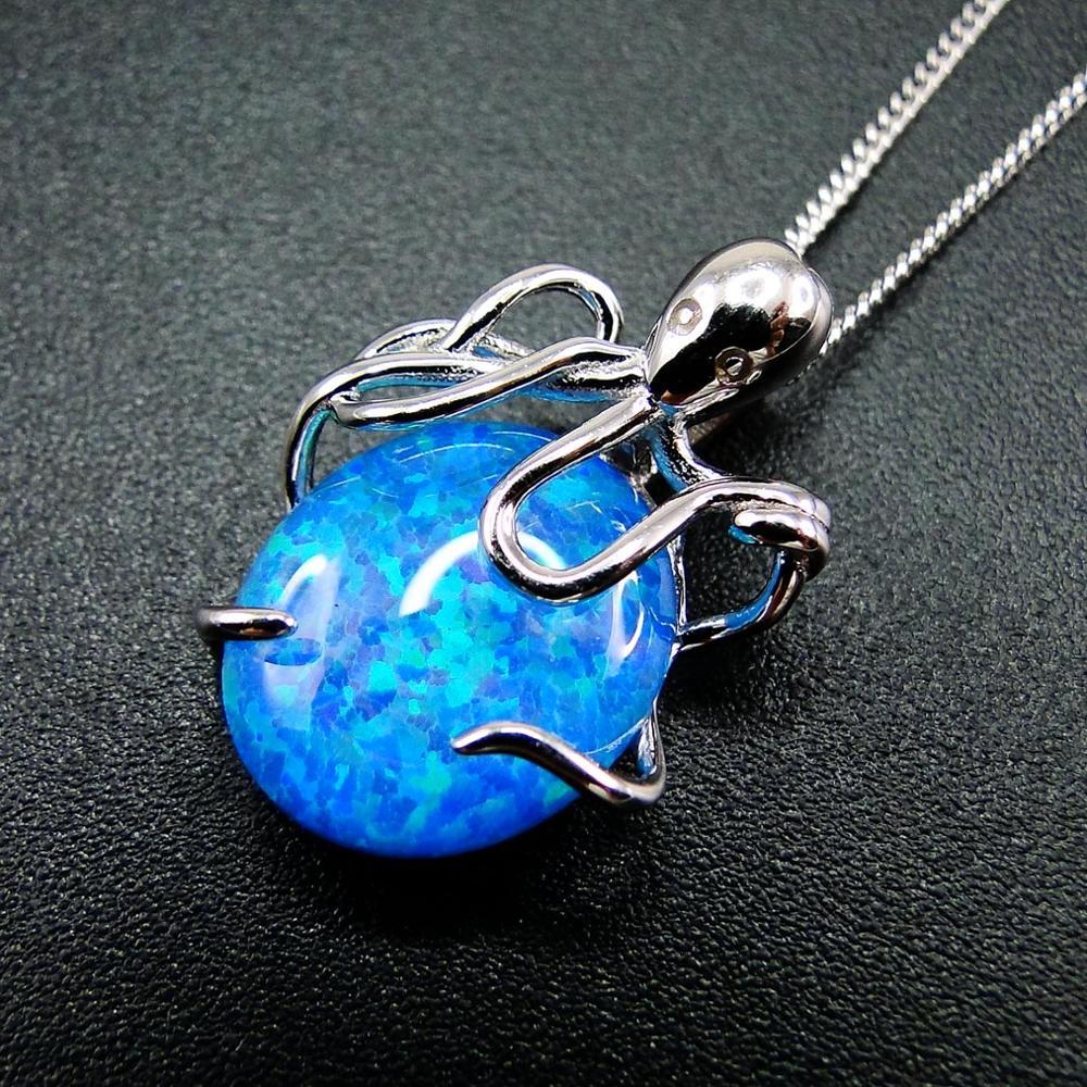 """Хит продаж, красивый, видеть животных 925 стерлингового серебра c огненным опалом """"осьминог"""", ожерелье с кулоном для подарка"""