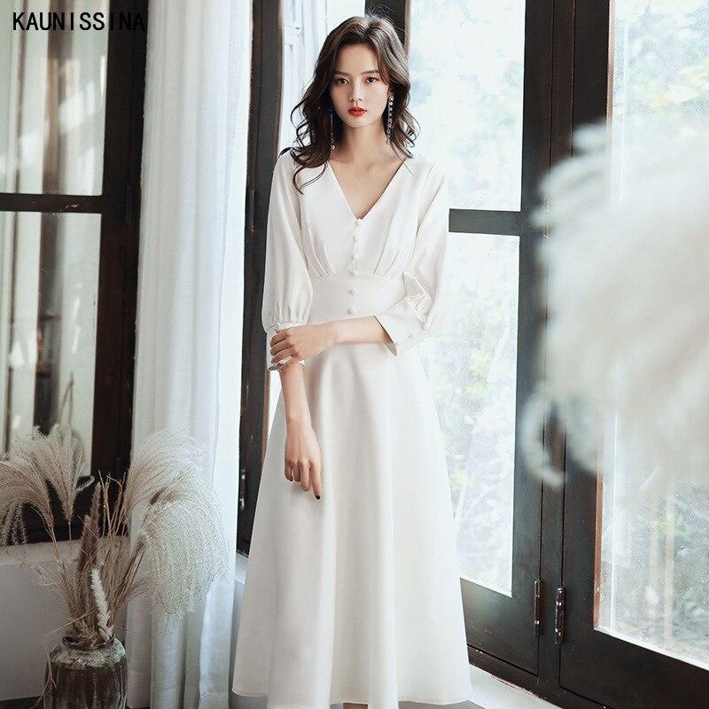 KAUNISSINA فستان كوكتيل نسائي, KAUNISSINA فستان حفلات أنيق بطول ثلاثة أرباع كم ورقبة على شكل حرف v بأزرار